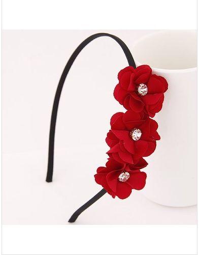 Cheapest Hair Band Elegant Korean Style Rhinestone Flower Embellished Hair Accessory Hair Band Red