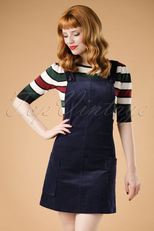 Bright and Beatiful Lena Pinafor Dress in Navy Blue 18816 20160531 1W1