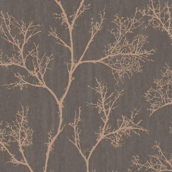 Brown & Gold Icy Trees Wallpaper | Departments | DIY at B&Q