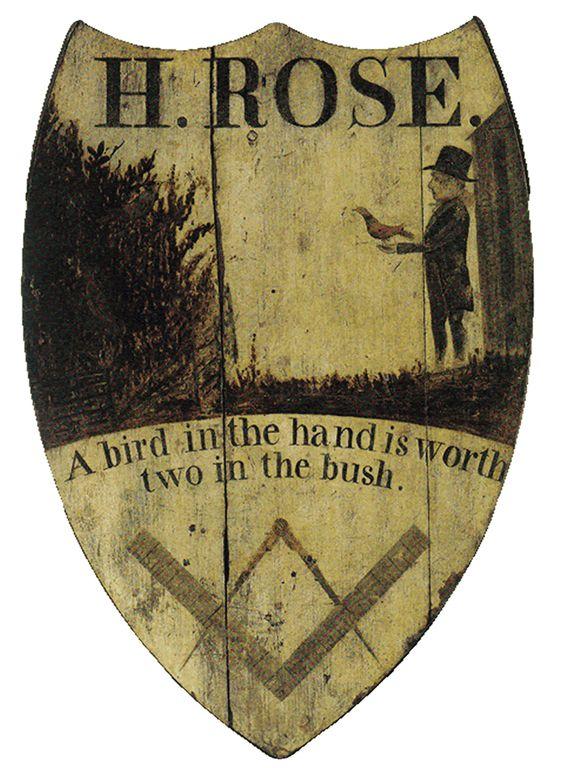 Sign for Rose's Inn, c.1813.