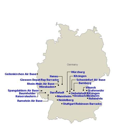 US Military Installations In Germany Ramstein AF Base Hohenfels - Germany map military bases