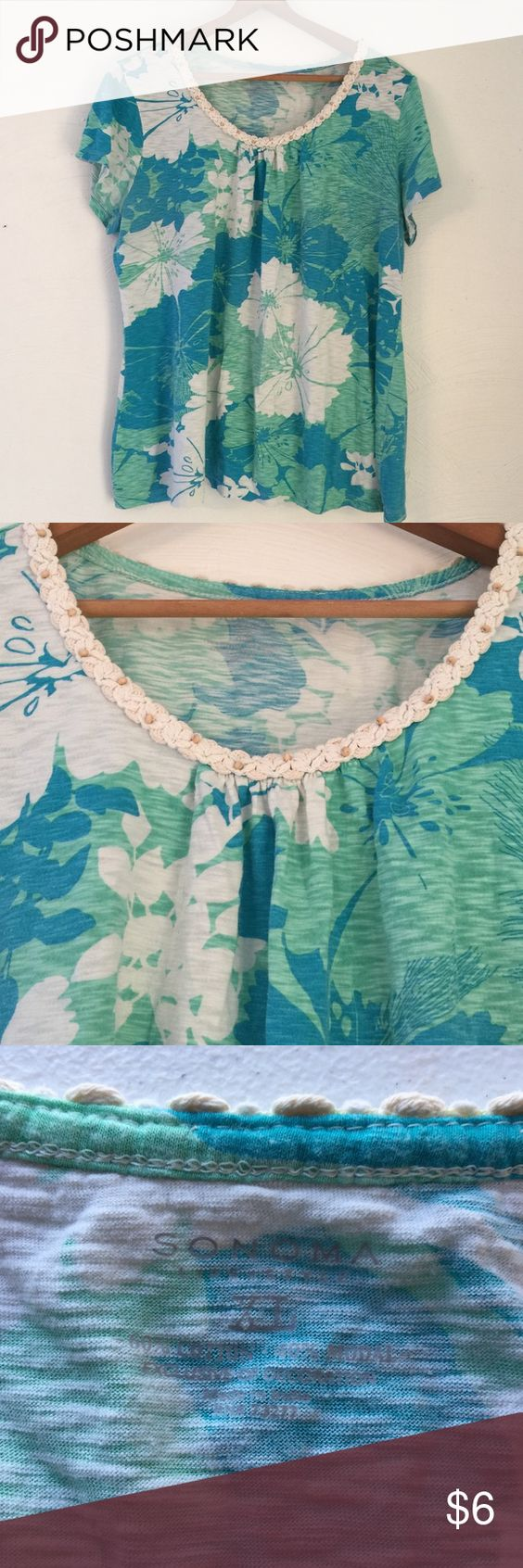 Sonoma, Short Sleeved Top w Macrame Trim on Collar Turquoise/aqua/white flower pattern on this cotton blend shirt. Macrame Beaded trim on collar adds to the beachy appeal. XL Sonoma Tops Tees - Short Sleeve