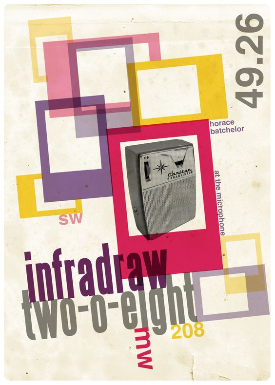 From a series of 50's inspired posters based on Radio Luxembourg...by Malcolm Turner