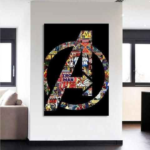 Marvel The Avengers Symbol Iron Man Unique Style 1pc Wall Art Avengers Wall Art Marvel Wall Art Superhero Wall Art