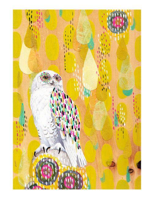 SNOW OWL 85 x 11 print by yellowbuttonstudio on Etsy. $20.00