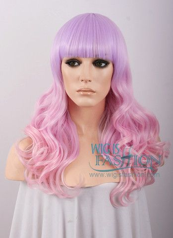 Long Curly Pink Mixed Purple Fashion Wig CM088