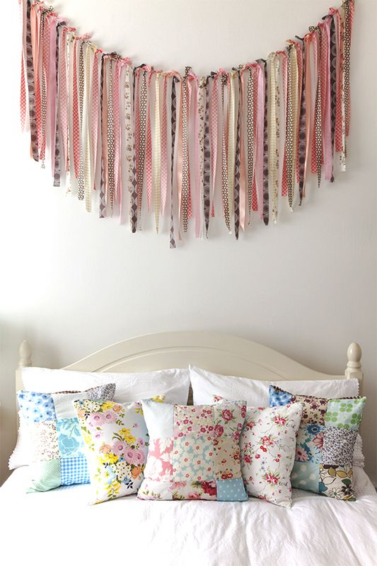 Floral prints and ribbons in the bedroom