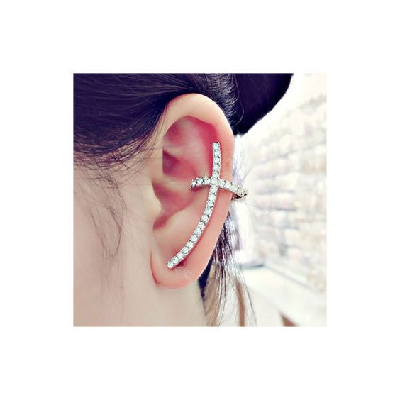 Cross Shaped Sliver Rhinestone Embellished Metal Ear Cuff ($5.92) ❤ liked on Polyvore featuring jewelry, silver, ear cuff jewelry, metal jewelry, cross jewelry and cross ear cuff