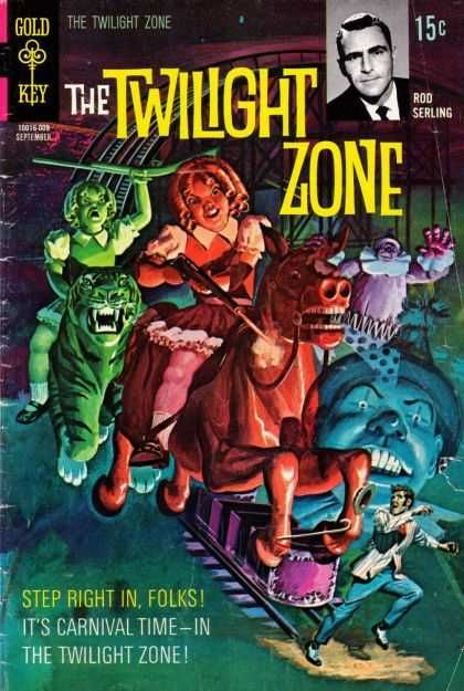 Cool Book Cover Zone : Twilight zone rod serling carousel clown donkey