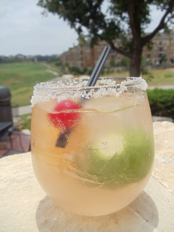 recipe skinny girl margarita, tequila, fresca, garnished with orange, lime and a cherry #GotItFree!