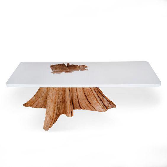 Tree stump coffee table made with salvaged cedar