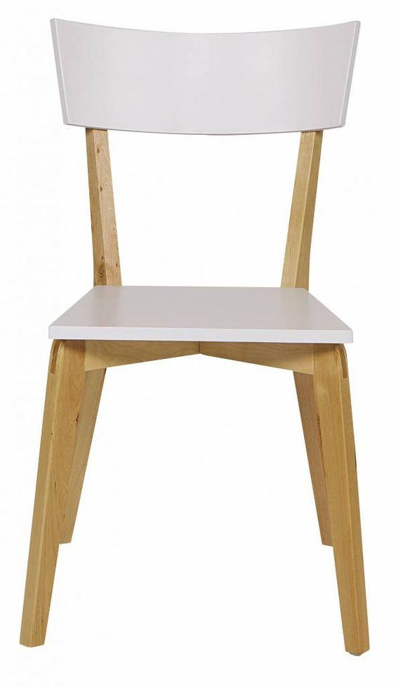 Woood Esszimmerstuhl SAAR aus Holz, weiß/naturbraun, 81x45x33cm