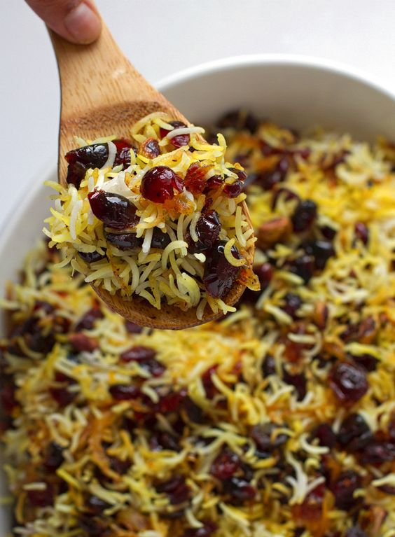Fragrant Persian cranberry rice pilaf with saffron. Sweet, perfect for ...