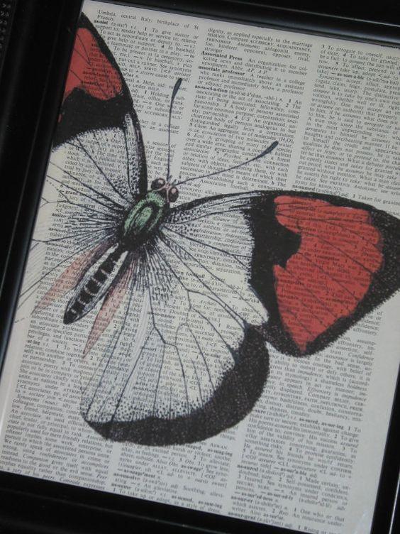 Butterfly Art Butterfly Print Dictionary by HamiltonHousePrints, $8.00