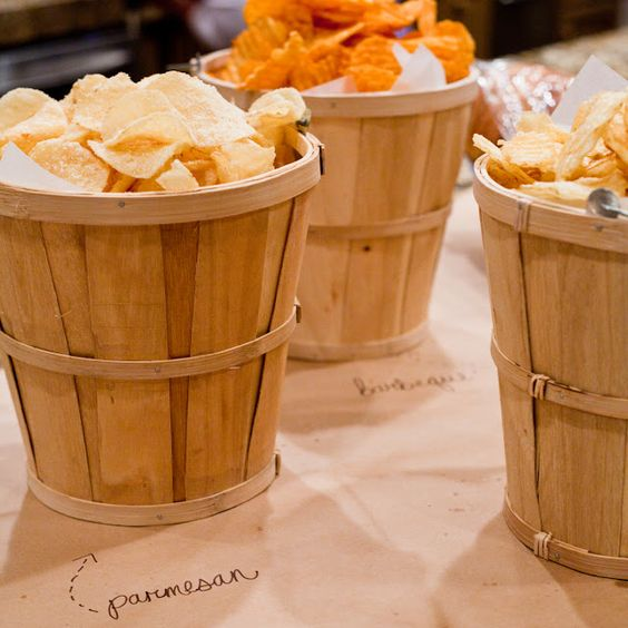 fall bridal shower...serving snacks in apple baskets.  cute.