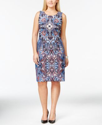 Charter Club Plus Size Printed Sleeveless Shift Dress, Only at Macy's | macys.com