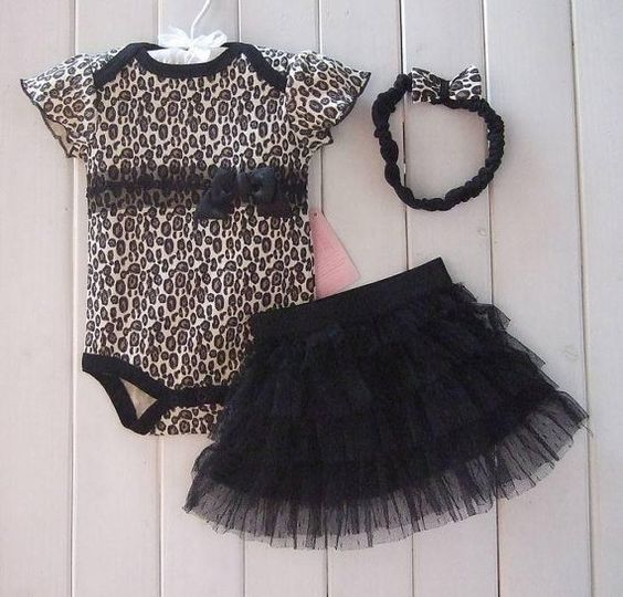 Baby girls leopard bodysuit and black tutu by BeautifulxBoutique, £18.99