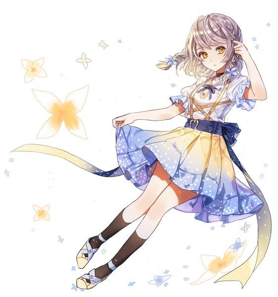 Anime picture 1200x1280 with  original limobok single tall image simple background fringe white yellow eyes looking away silver hair hair flower braid (braids) twin braids full body adjusting hair puffy sleeves spring girl dress hair ornament