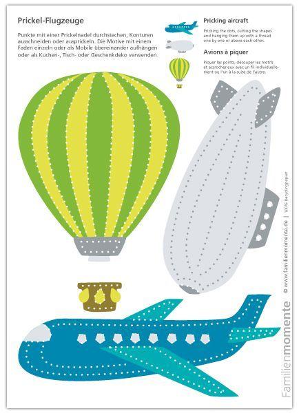 Flugzeuge Zum Prickeln Bastelbogen Mit Heissluftballon Zeppelin Und Flugzeug Flugzeuge Zum Prickeln Bastelbogen Mit He Bastelbogen Flugzeug Basteln Prickeln