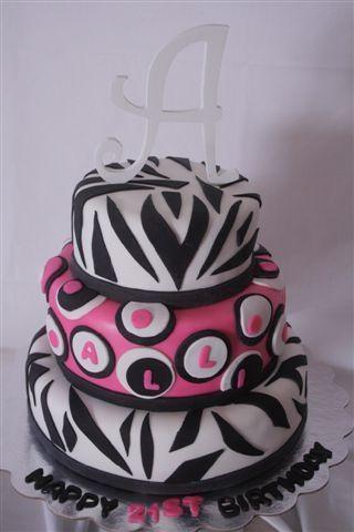 zebra & hot pink cake~cute amber logo