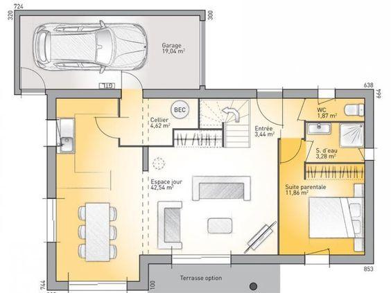 Maisons plain pied 3 chambres de 92 m² construite par Demeures - plan maison 110m2 etage
