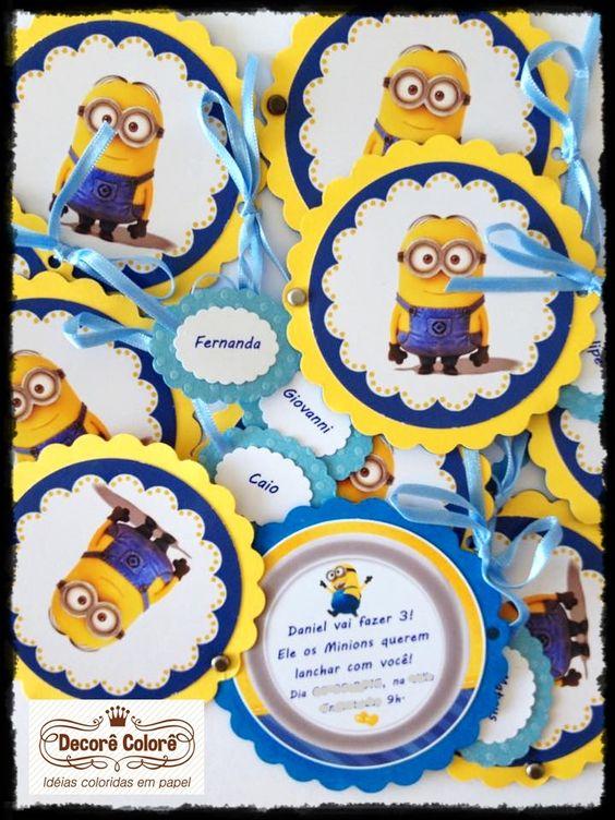 Minions! - Convite escolinha - com tag para nominho dos coleguinhas :)