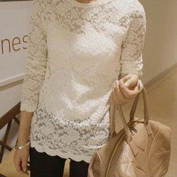 Tranquil Lace Feminine Scalloped White from figleaffashion on