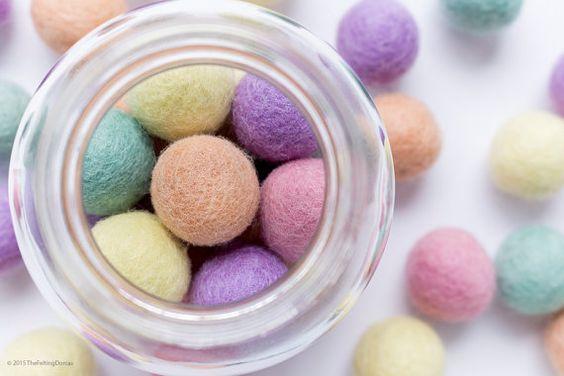 2.5cm Wool Felt Ball x 25 Pastel Colours. 25mm felt balls by TheFeltingDorcas