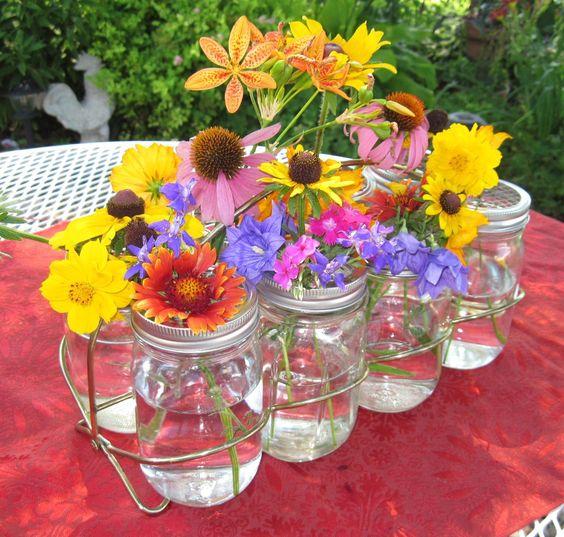 Mason jars caddy jar flower frog lids for ball