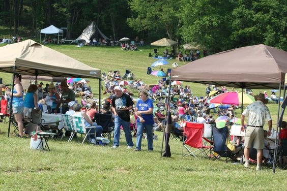 Crowds gather at the 2nd Annual Chantilly Farm Bluegrass and BBQ Festival in Floyd, VA.  May 2012