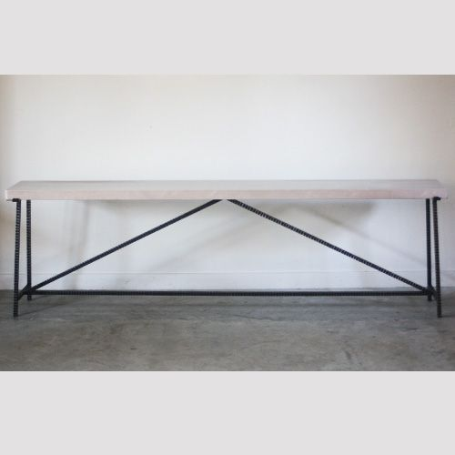 Gallery Coffee Table with Hammered Steel Base and Limestone Top