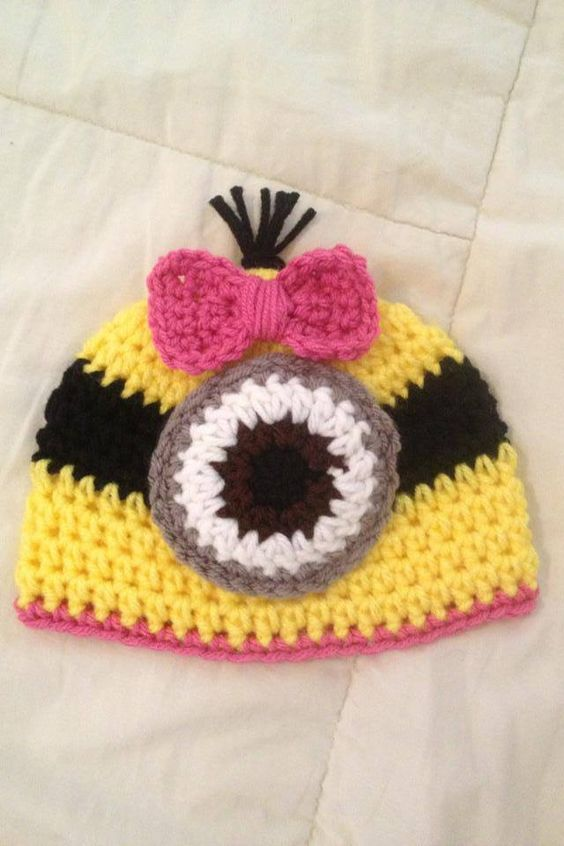 Knitting Pattern For Minion Beanie : Newborn girl crochet beanie! Crochet - Hats - Minions Pinterest Minion ...