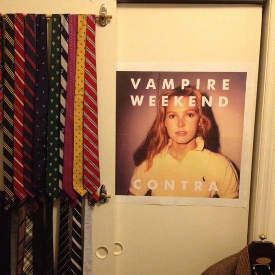 Made a tie rack using adhesive hooks on my closet sliding doors.