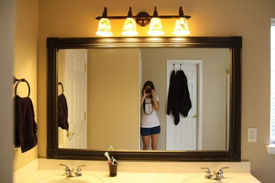 Easy Diy Mirror Frame And Lowes Light Fixture Decorating Pinterest Chic Bathrooms Frame