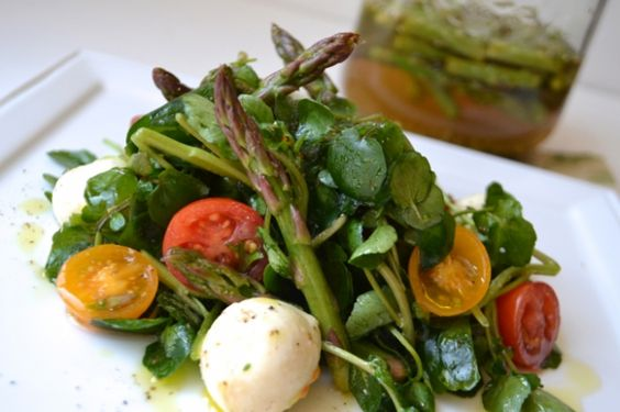 Watercress Caprese Salad with Pickled Asparagus | Lifetime Moms