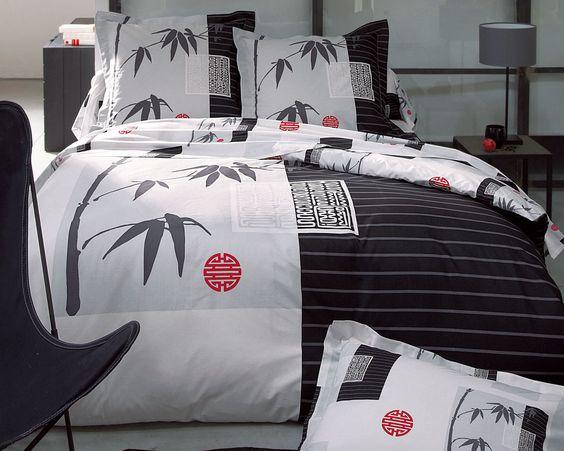linge de lit décor japonais