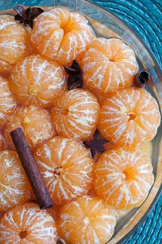 Clementines in star anise & cinnamon syrup; When you squish this into your mouth, you'll understand...