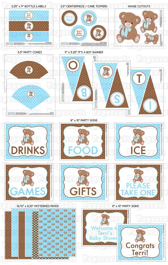 Printable DIY Blue and Brown Teddy Bear by PapercutsPartyShop