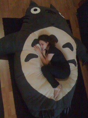 Stephan Royer: Homemade giant Totoro flor pillow (shell stuffed with 99 cent pillows; make an opening and it can be washed):