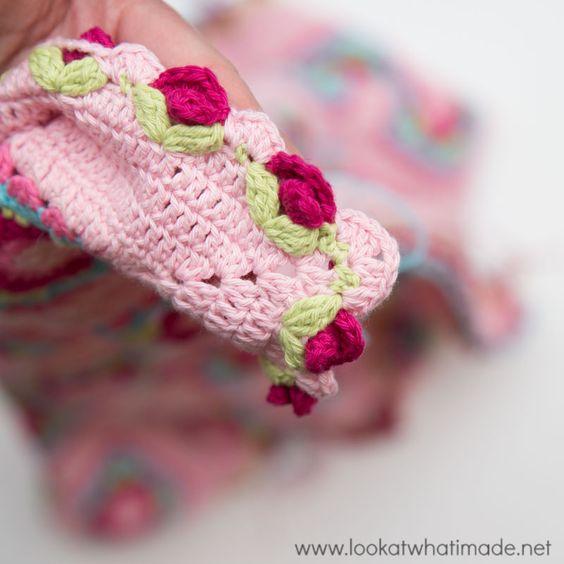 Crochet Lydia Blanket Roses and Scallops ༺✿Teresa Restegui http ...