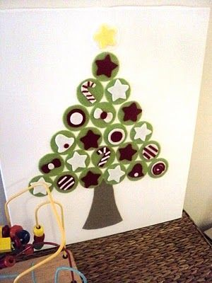 "Christmas tree countdown.  Make it out of felt and glue on canvas.  There is only 22 balls on this tree (including the star), so put 3 balls on the ground as ""gifts"" from the 3 wise men.  If you want to put a ball on each day until Christmas, you can number each one, then Velcro them on!"