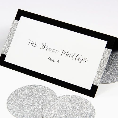Silver And Gold Glitter Place Cards Layered Hand Written