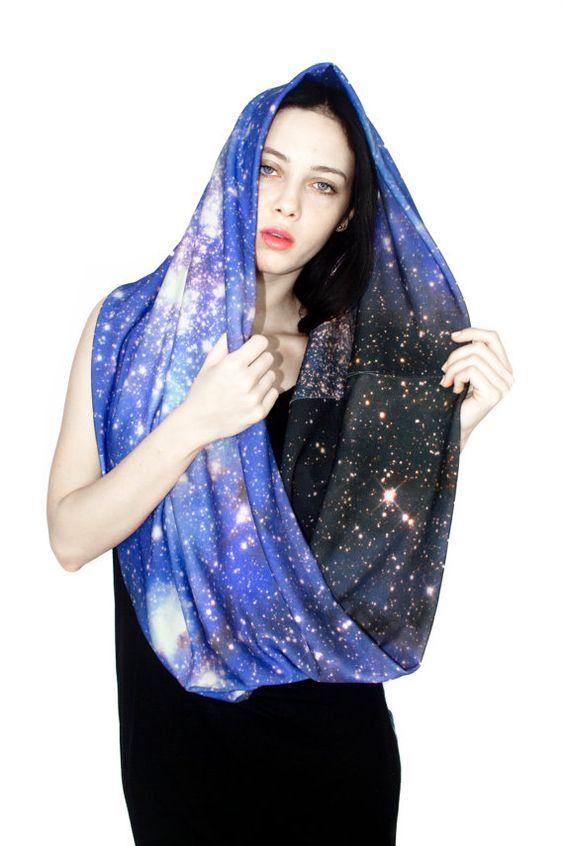 Galaxy Schal SMC Nebula Circle Schal, Galaxy gedruckt Schal, Infinity Schal, warmen Schal.