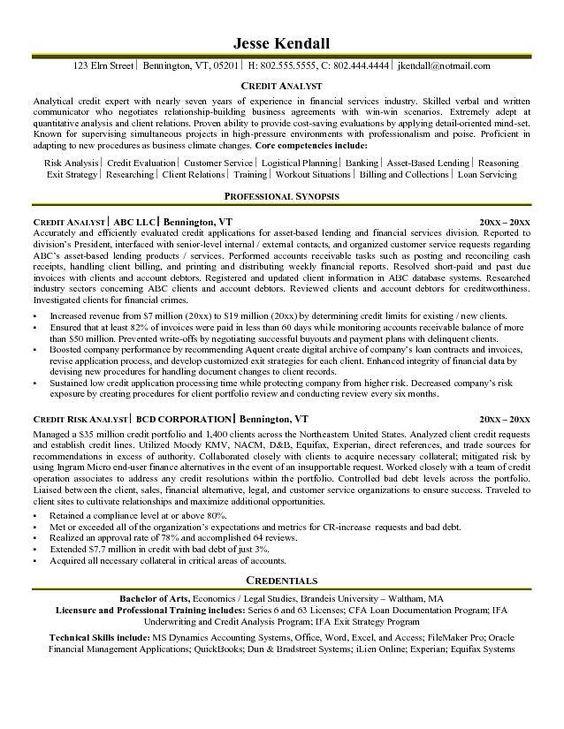 Credit Analyst Resume Example | Resumes | Pinterest | Resume