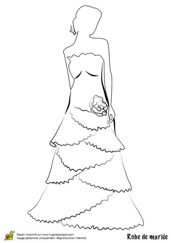 Dessin Coloriage Robe De Mari 233 E 224 Volants Et Fleurs