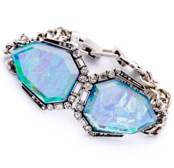 Blue Green Faux Opal Abalone Shell Crystal Rhinestone Silver Cuff Charm Bracelet   eBay