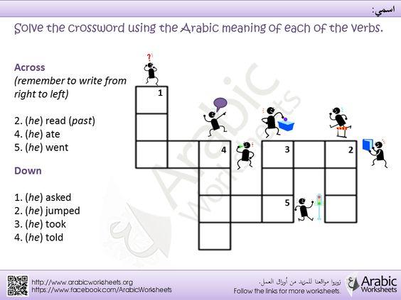 arabic verbs crossword arabic grammar worksheets pinterest learning arabic english. Black Bedroom Furniture Sets. Home Design Ideas