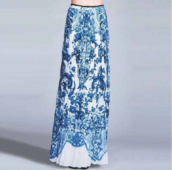 Maxi Skirt Blue And White | Jill Dress