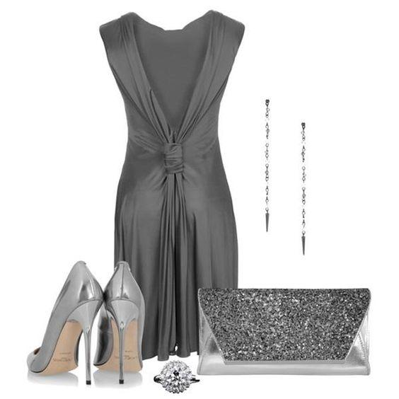 Как украсить платье серого цвета