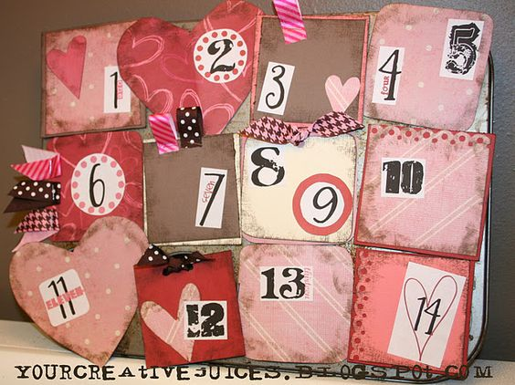 valentine countdown made with a muffin tin.